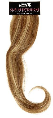 Love Hair Extensions - LHE/A1/QFC12/35G/18/12/24 - 100 % Cheveux Naturels - Maximum Volume - Barrette Unique Extensions à Clipper - Couleur 12/24 - Brun Doré / Blond Soleil - 46 cm