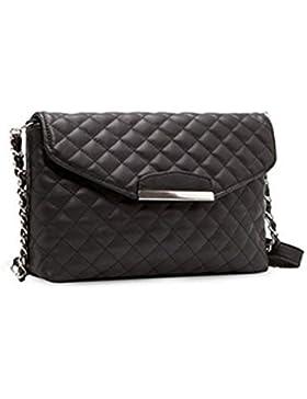 21a0ff5f16212 LUOEM Damen Crossbody Tasche Handtasche Schultertasche PU Leder mit Ketten  (Schwarz)