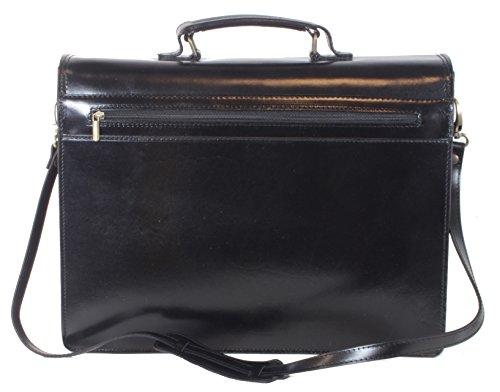 taschenTrend - Alcamo große Aktentasche Business Bags Glattleder XXL Aktenkoffer DIN-A4 Leder Taschen Damen Herren Umhängetaschen Messenger 12 - 15 Zoll UNISEX 41x31x15cm (B x H x T) Schwarz