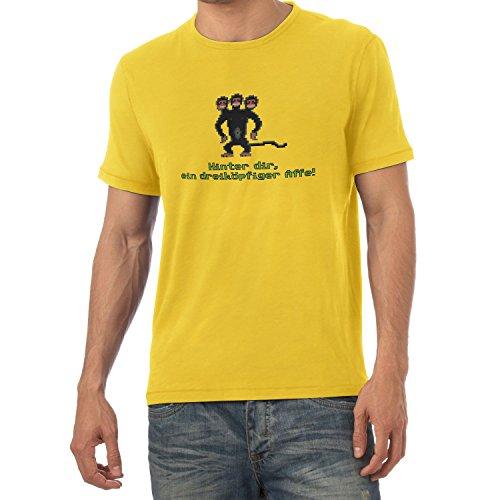 NERDO Herren Dreiköpfiger AFFE T-Shirt, Gelb, L