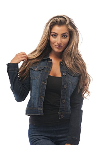 Hollywood Star Fashion - Chaqueta de vaquero para mujer - Azul - Medium