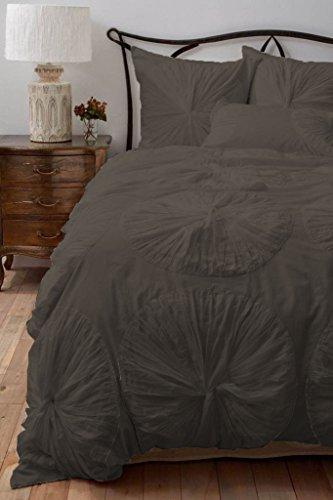 SCALABEDDING Blumen Gerüscht mit Kissenbezügen Extra 800TC ägyptische Baumwolle 5-teiliges Bettwäsche Set Doppel Extra Lang, Elefant grau (Extra Lange Twin Bettwäsche-sets)