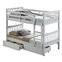 Calder White Hardwood Bunk Bed with Storage Drawers. 2 Man Delivery