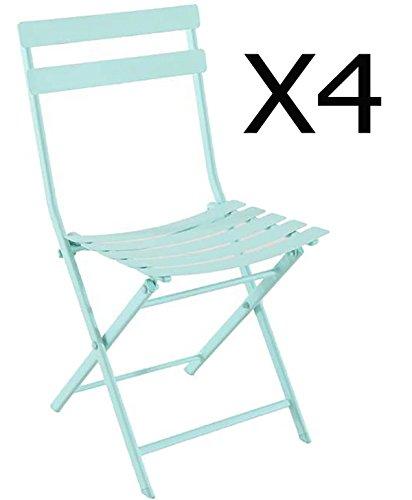 Lot de 4 chaises pliantes coloris Mint - Dim: 52 x 42 x 80 cm -PEGANE-