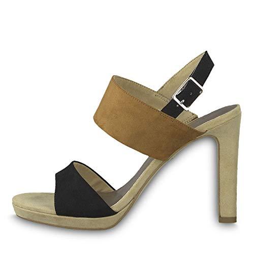 Tamaris 1-28354-22 Damen Sandaletten Sandalen High Heel, Schuhgröße:38 EU, Farbe:Braun - Canvas-high-heel-sandalen