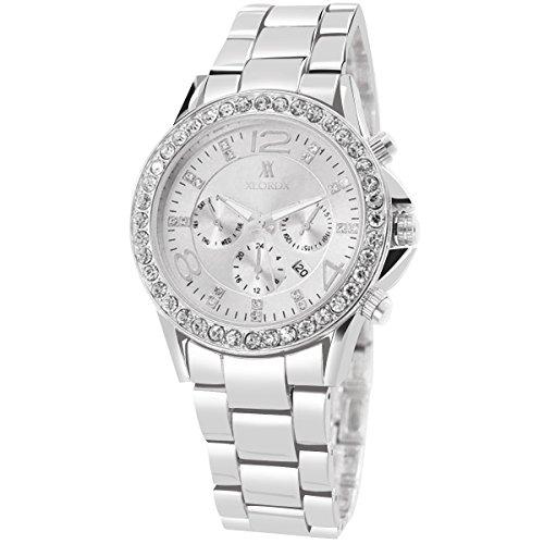 XLORDX Classic Designer Datum Strass Damenuhr Silber Uhr Edelstahl Chronograph Optik Silber Strassuhr Armbanduhr