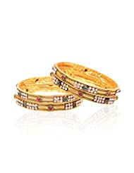 Gold Plated Bangle Set With Cz Stone - B00UT42UD2