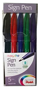Pentel Faserschreiber 5 Stück farbig sortiert