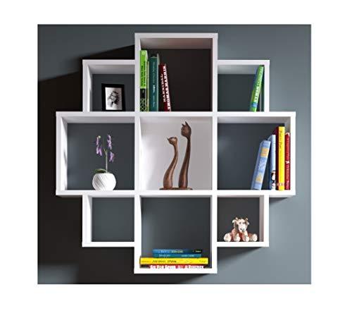 Homidea Bloom Mensola da Muro-Bianco-Mensola Parete-Mensola Libreria-Scaffale pensile per Studio/Soggiorno in Un Design Moderno.
