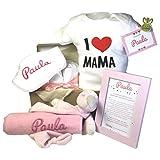 MabyBox Happy Mummy | Canastilla bebe Personalizada | regalo original Bebe | Cesta Regalo Bebé Recién nacido (Rosa, 3-6 meses)