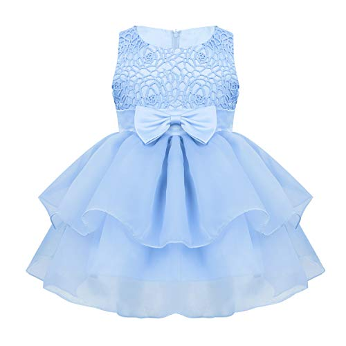 Alvivi Baby Mädchen Prinzessin Spizte Kleider Kleinkinder Hochzeits Festlich Party Geburtstag Bekleidung Kleider Himmelblau 68-80