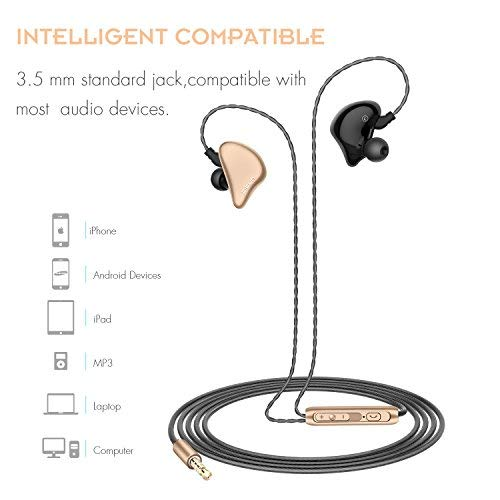 Picun S6 Sport Kopfhörer Ohrhörer mit Mikrofon und Lautstärkeregeler zum Laufen für Fitnessraum, In-Ear Ohrhörer für iPhone / iPod / iPad / Android Geräte (Schwarz Gold) - 3