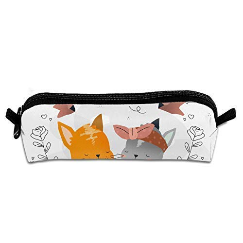 Cute Cat True Love Couple Pen Pencil Stationery Bag Makeup Case Travel Cosmetic Brush Accessories -