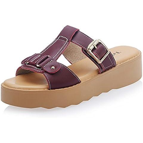 Ragazza di pantofole fatte a mano in vera pelle/ estate con plateau scarpe/ infradito spessa cunei/H bocca di pesce all'aperto sandali