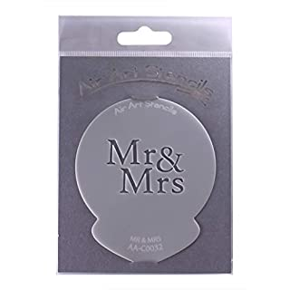 Mr & Mrs Wedding Stencil - Reusable Flexible Food Grade Plastic Stencil for Cake and Craft Design, Airbrushing and more