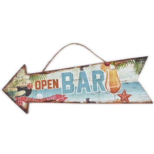 Dadeldo Holzschild Open Bar Beach Design MDF 10x30cm bunt Wand-Bild Deko (Motiv 1)