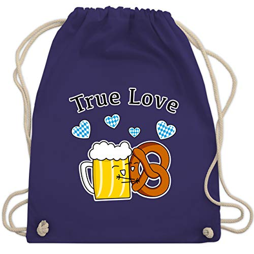 Oktoberfest Damen - True Love- Bier und Breze - Unisize - Lila - WM110 - Turnbeutel & Gym Bag