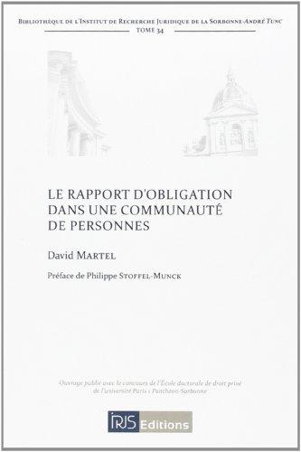 Le rapport d'obligation dans une communauté de personnes