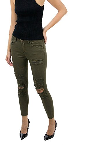 DSguided Damen Jeanshose mit Distressed-Optik in Khaki Camouflage unterlegt Destroyed Look Khaki