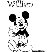 Mickey Mouse con su nombre elegido 60cm x 40cm elegir color 18colores en stock Childs Disney, cualquier nombre, personalizable nombre, dormitorio, cuarto de niños pegatinas, vinilo de coche, Windows y adhesivo decorativo para pared, de pared Windows Art, dodoskinz, diseño de vinilo adhesivo ThatVinylPlace