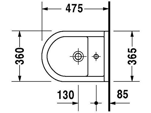 Duravit Wand Bidet Starck 3 Compact 47, 5cm 1 Hahnloch, weiß 2231150000