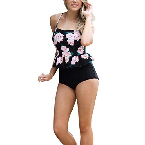 Damen Sportlich Tankini Top Bandeau Bikini Sets Zwei Stück Beachwear Gepolstert Push Up Badeanzug,One Shoulder Tankini,Exquisite Bademode von Innerternet