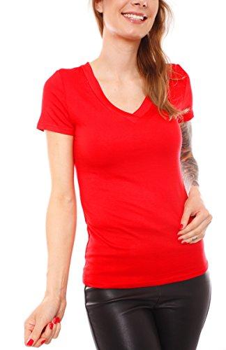 Damen Shirt T-Shirt Unterhemd Kurzarm V-Neck Basic Top V Ausschnitt Uni Slimfit Einfarbig Baumwolle Hemdchen Baumwollshirt Dünn Gr Rot S - M - 34 - 36 (Baumwoll Jersey T-shirt V-neck)