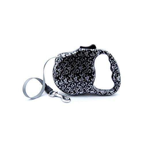 BELLUS Flexible Hundeleine, Print ideal für kleine Hunde, bis 30lbs., silber/schwarz (Stärken Print Klassische)
