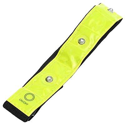 Reflektierende Armband - SODIAL(R)Sport Armband 4 LED Verstellbar Armband Reflektierende blinkende High Visibility Armband Radfahren Laufen Walking Running Freizeit Sicherheit Gelb + schwarz