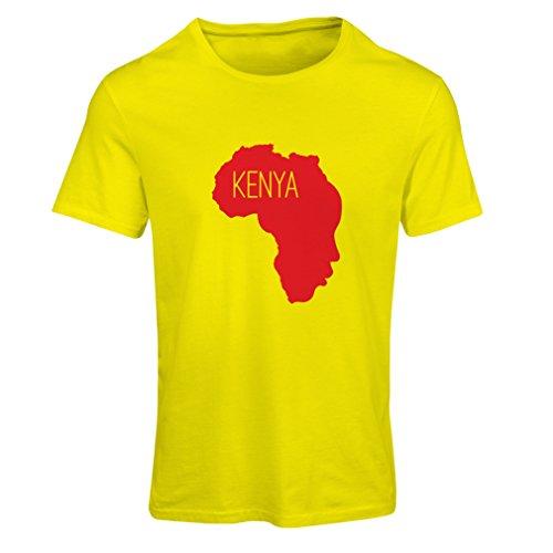 Frauen T-Shirt Retten Kenia - politisches Hemd, Friedensrede Gelb Rote