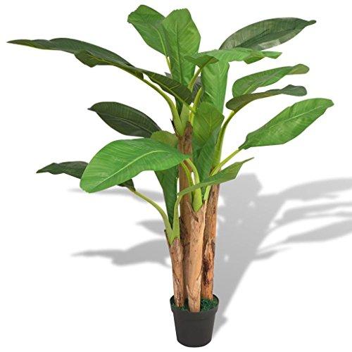 Festnight Kunstpflanze Kunstbaum Künstlicher Bananenbaum mit Topf 175 cm Grün