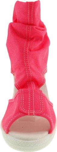 Maxstar Wrinkledd côté à bout ouvert en toile Talon compensé de sandales de la cheville Rose - rose