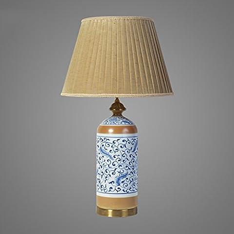 Guo Lampe en céramique bleu et blanc antique Chambre lampe