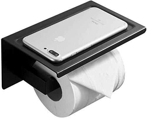 chishizhenxiang Toilettenpapierhalter aus gebürstetem Nickel mit an der Wand montiertem Toilettenpapierring mit Aufbewahrung -