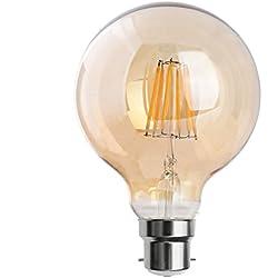 Bombilla LED vintage tipo globo 80/95, estilo Edison, E27/B22, 2800K blanco cálido, filamento largo, bombilla LED de color marrón, cristal dorado ahumado, 4 W/8 W, clase energética A++, G95 B22 8W, E27 240.0volts