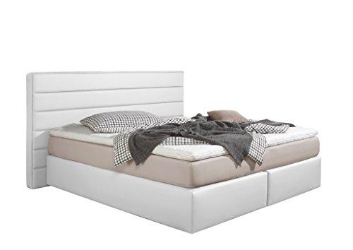 Maintal Boxspringbett Toulouse, 180 x 200 cm, Kunstleder, 7-Zonen-Kaltschaum Matratze H2, Weiß