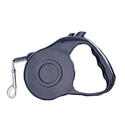 MissFox 5M Roll-Leine für Hunde -Inziehbar Hundleine mit Ergonomischem Griff für Mittlere und kleine Hunde Haustier (Schwarz)