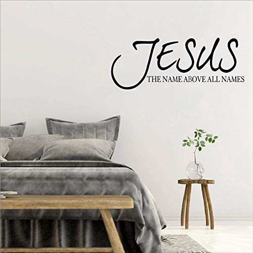 WWYJN Jesus Name Above All Names Quote Wall Decal Sticker Vinyl Bible Verse Religious Pray Lettering Wall Decal Home Decor Art Mural red 56x20 cm -