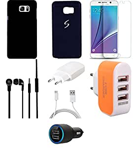 NIROSHA Tempered Glass Screen Guard Cover Case Charger Headphone for Samsung Galaxy Note 5 - Combo