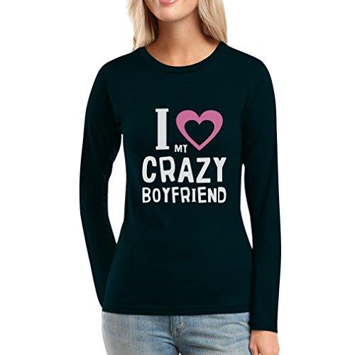 Pärchenmotiv für Valentinstag I Love my Crazy BF Frauen LangarmTShirt  Schwarz