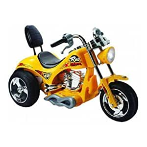 6 VOLT KIDS RIDE ON CHOPPER TRIKE MOTORBIKE IN YELLOW WITH RECHARGABLE BATTERY