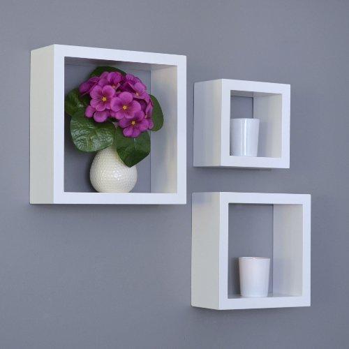 Lot de 3 étagères Design Lounge Cube murales pour CD livres Blanc