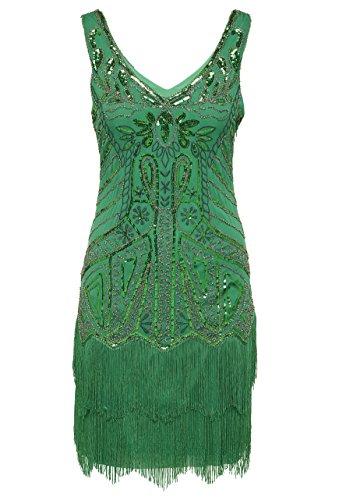 Babeyond Damen Kleid 20er Stil V Ausschnitt mit Troddel Inspiriert von Great Gatsby Kostüm Kleid (Kleid Kostüme Grünes)