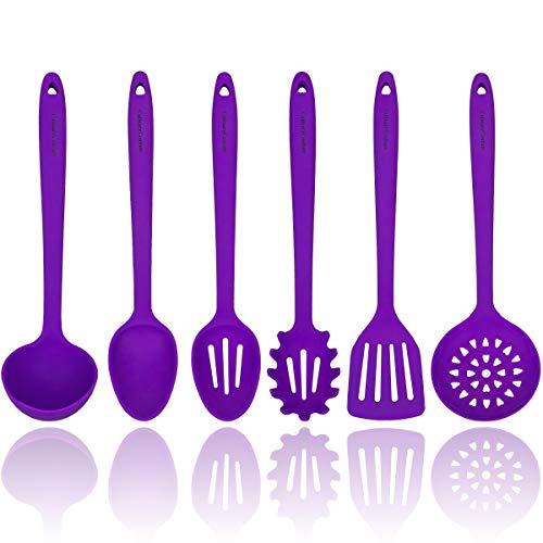 Púrpura Juego de utensilios de cocina de silicona - Robusto núcleo interno de acero - Espátula, Cuchara ranurada y ranurada, Cuchara, Servidor de pasta, Escurridor