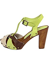 MARRADINI Damen - Sandale - Glattleder - 365_210_Panna_Verde_Taupe