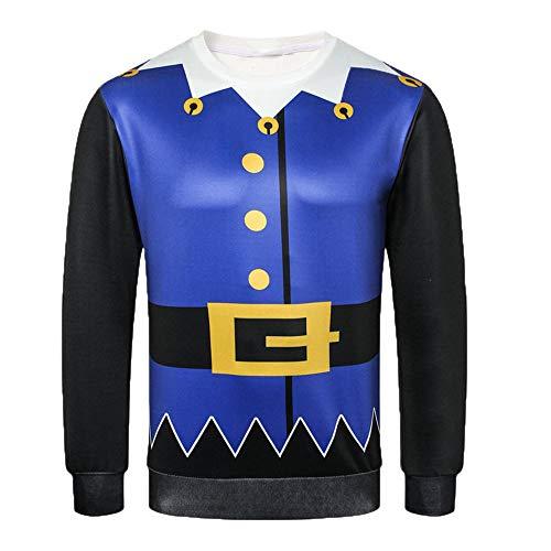 UJUNAOR Christmas Herren Hoodie Sweatershirt Pullover Klassisch 3D Gedruckt Langarm Top Bluse(Blau,EU S/CN M)