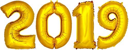 DekoRex® 2019 Ballons Folienballons Luftballons Silvester Neujahr Höhe: ca. 100cm in Gold