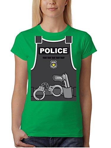 clothinx Damen T-Shirt Unisex Karneval 2019 Polizei-Kostüm Grün Größe - Village People Polizist Kostüm