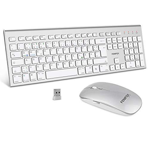 FENIFOX Tastatur Maus Kabellose,Duale Systemumschaltung QWERTZ 2.4G Ergonomie 2400 DPI mit Flüsternd Key für Windows macOS iMac Weiß und Silber
