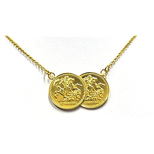 Gold sovereign necklace amazon gold plated double coin necklace george dragon sterling silver gold plated yellow gold plated 18 in aloadofball Image collections